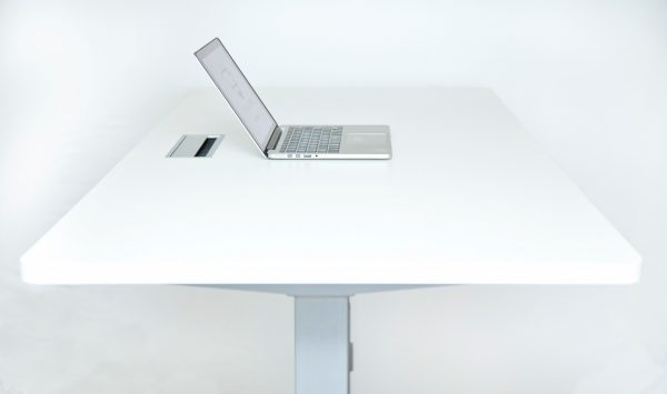 Standing Desk - white with silver frame - side view
