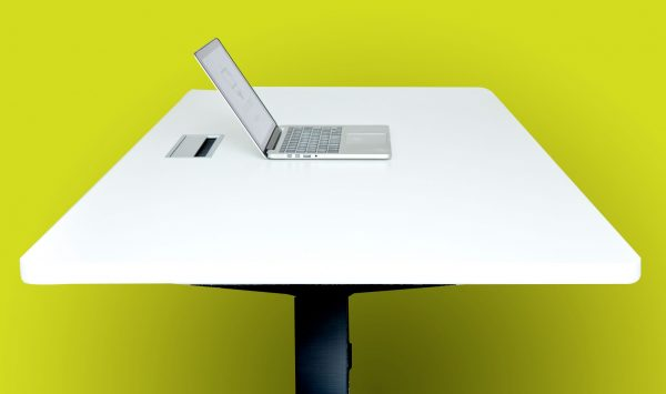 Standing Desk white top with black frame on yellow background