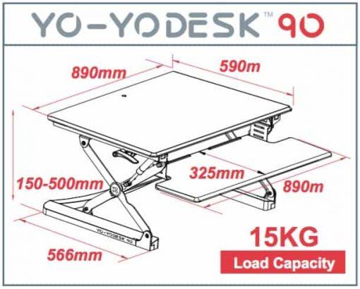 Yo-Yo Sit-Stand 90 Desk dimenstions