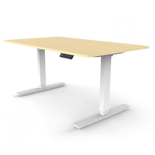 Dual Motor Standing Desk Rectangular Leg with Oak Desktop and White Frame