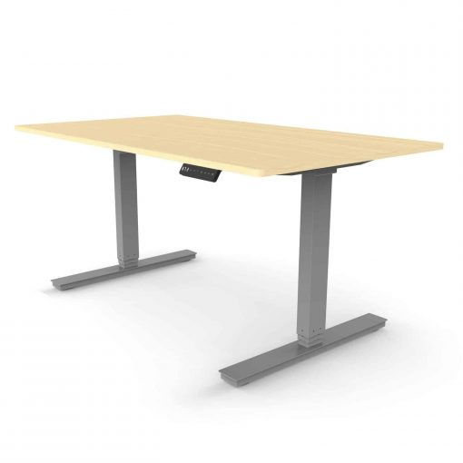 Standing desk dual motor rectangular leg with oak colour desktop and grey frame