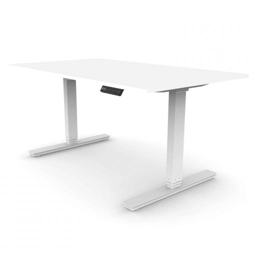Dual Motor Standing Desk Rectangular Leg with White Desktop and White Frame